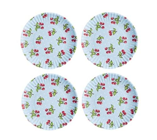 red cherries blue background reusable