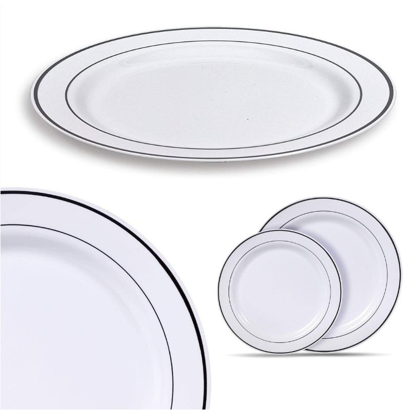 Reusable Plastic Dinner Dishes Set Duty Hard