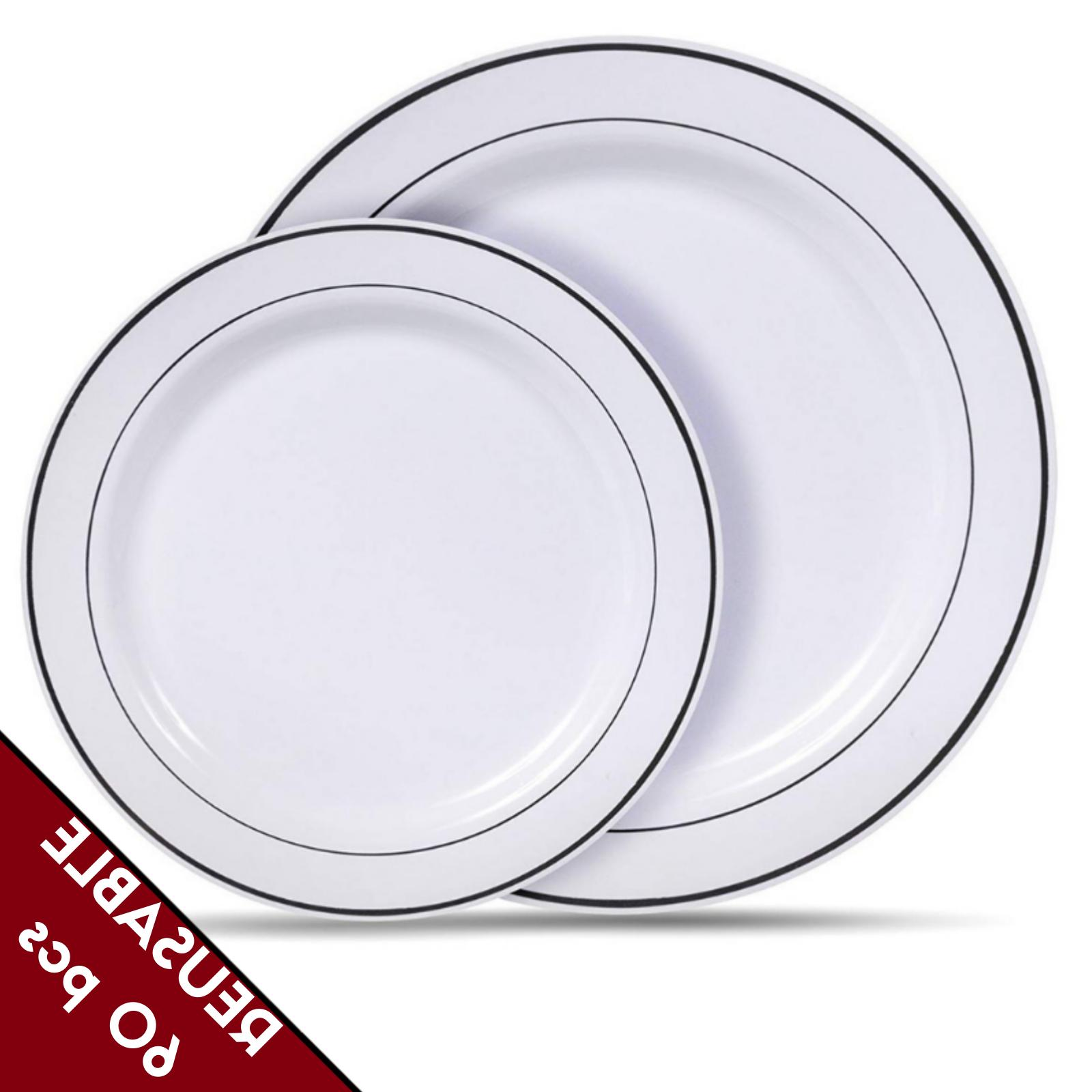 reusable plastic dinner plates dishes set heavy