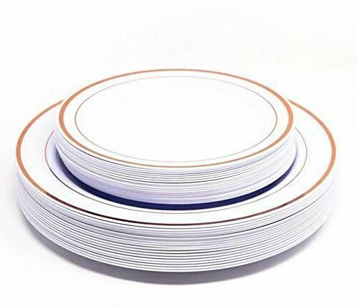 Rose Trim Plastic Dinner