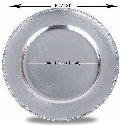 Round Charger Beaded Plates, Silver Set 12