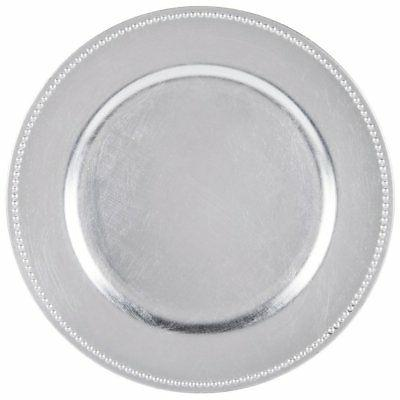 round charger beaded dinner plates silver 13