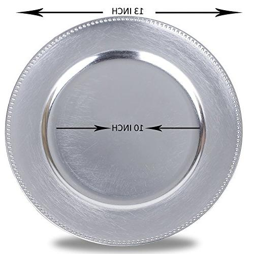 Round Charger Plates, Silver 13 inch, Set of