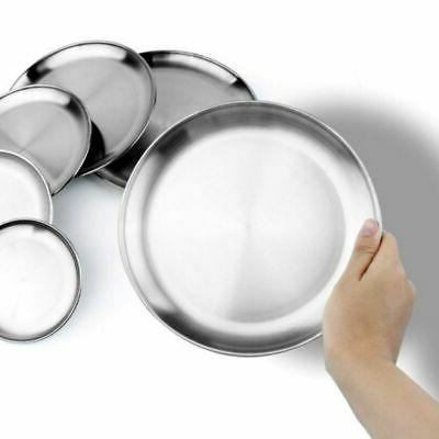 Stainless Plates Camping Picnic Metal Dish Round