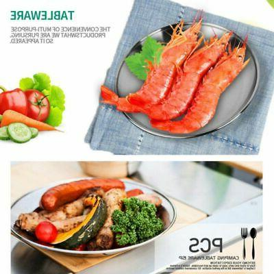 Stainless Steel Plates Picnic Round Foods