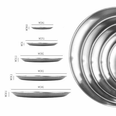 Stainless Round Plates Dishes Dinner Metal Plates Tableware