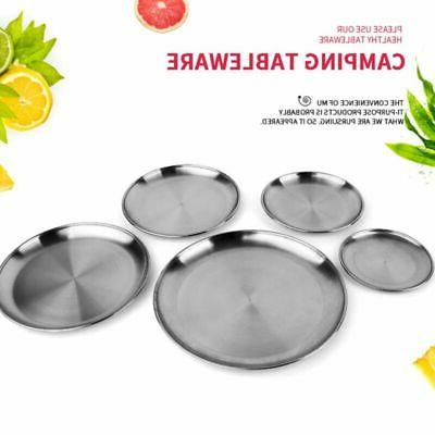 Stainless Plates Picnic Tableware Dish Round