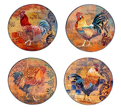 rustic rooster dinner plate set