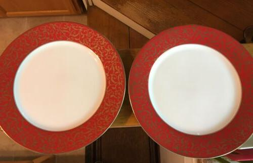 set of 2 parchment red dinner plates