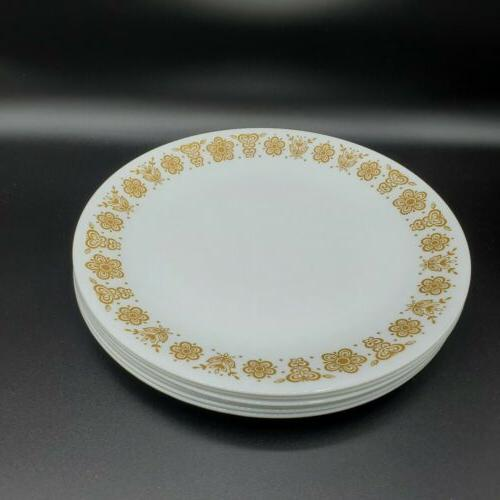 """Set of Corelle Gold Butterfly Plates 1/4"""" Harvest Yellow"""