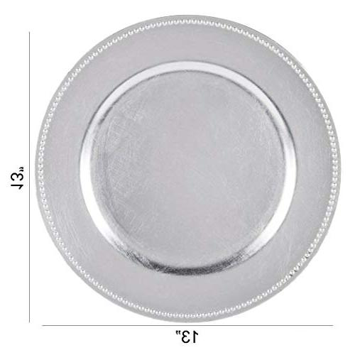 Tiger Chef 13-inch Silver Round Plates, Set 12 Dinner Chargers - of 96