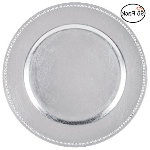silver round beaded chargers