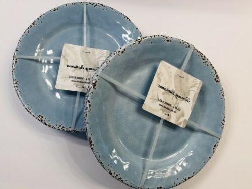 Tommy Dinner Plates Bowls Melamine of Crackle Rustic