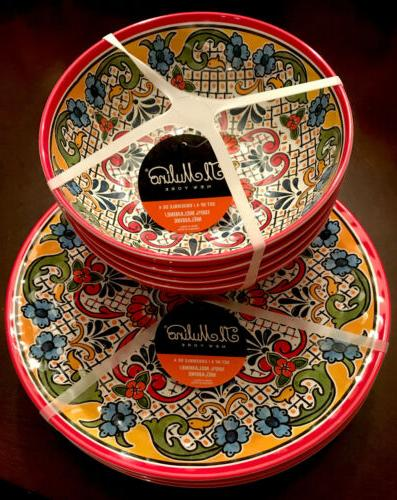 spanish medallion melamine 4 dinner plates
