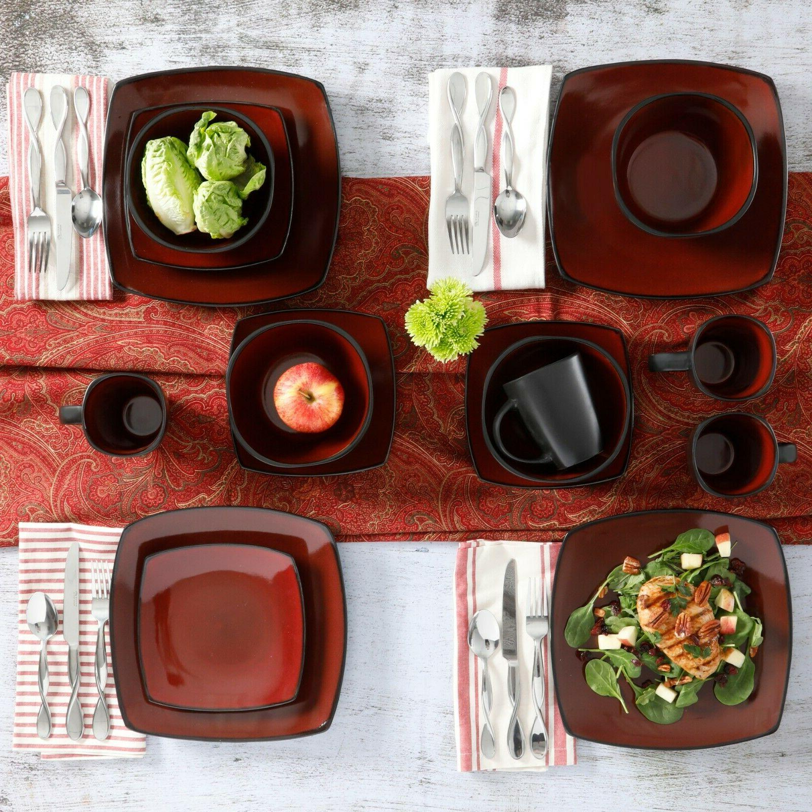 Square 16 Piece Plates Bowls Cups Kitchen Stoneware Red