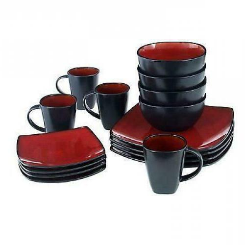 Square Set Piece Dinner Bowls Cups Kitchen