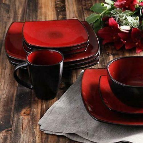 Square Dinnerware Set Piece Bowls Cups Kitchen Stoneware