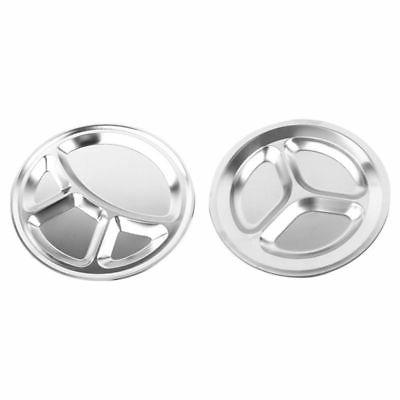 Stainless Sections Round Dinner Tray