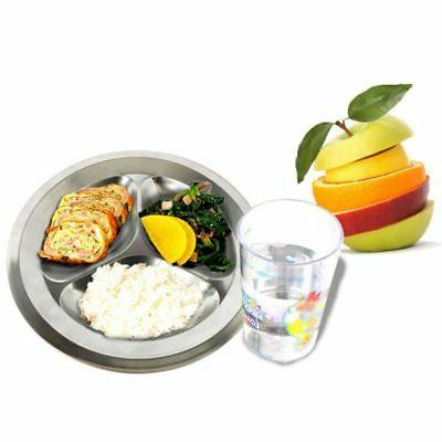 Stainless Round Divided Dish Snack Dinner Plate Tray