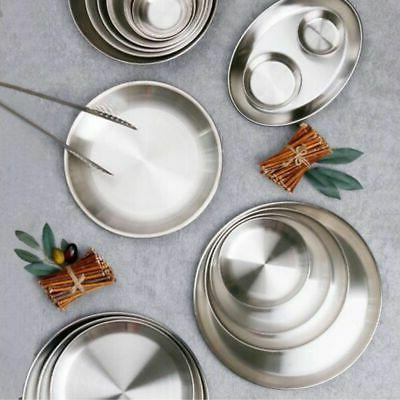 Stainless Steel Plate Dish Round Food Dinner Camping