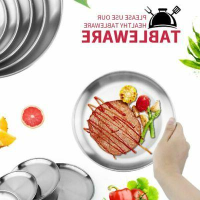Round Plates Dishes Stainless Steel Dinner Plate Outdoor Cam