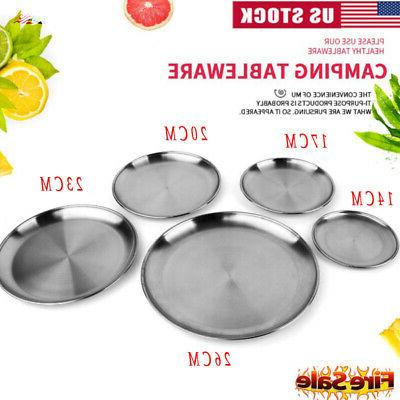 stainless steel plate dish round food dinner