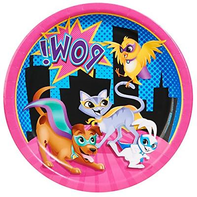 superhero pets party supplies dinner plates 8
