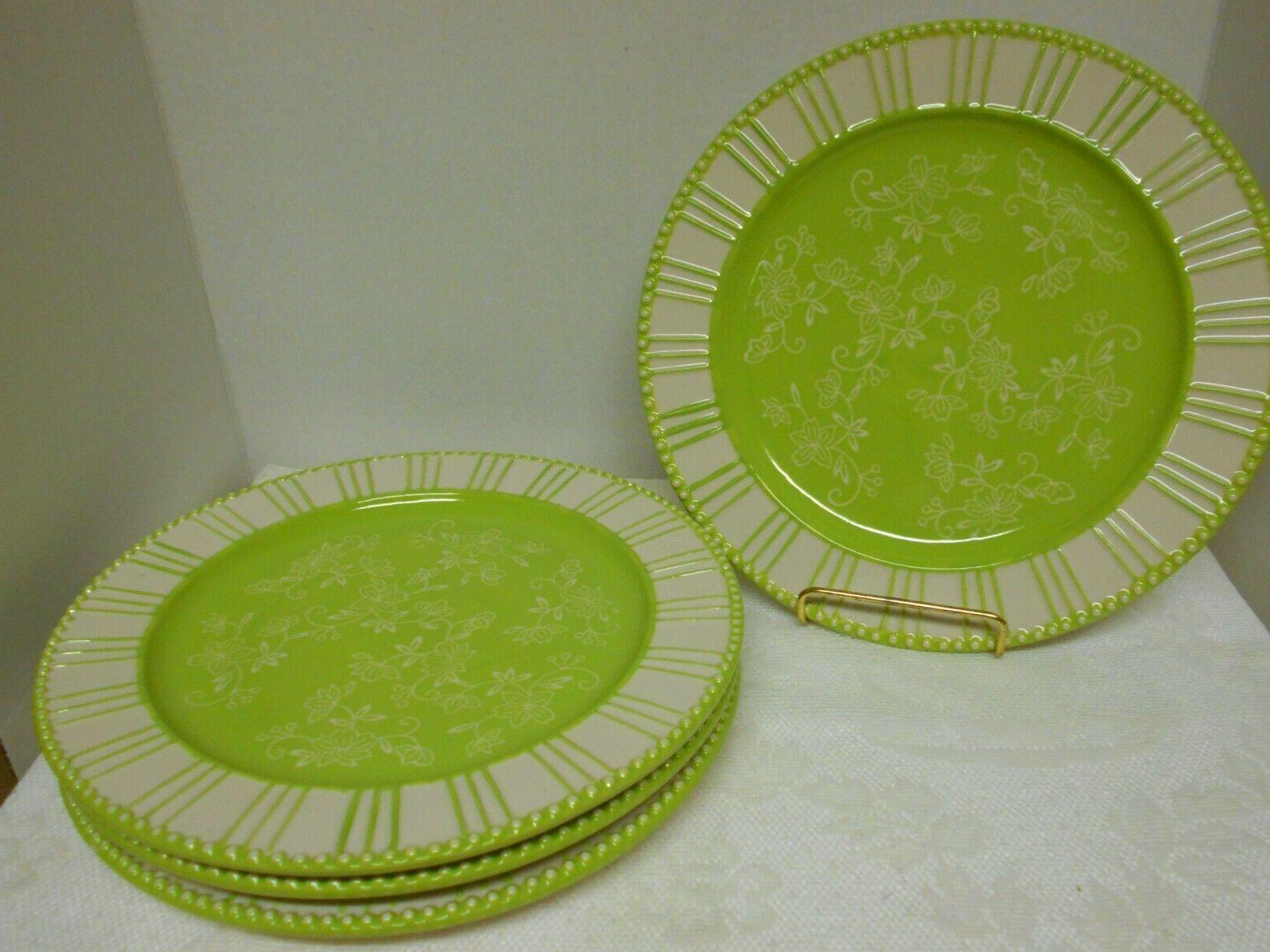 temp tations 4 dinner plates floral lace