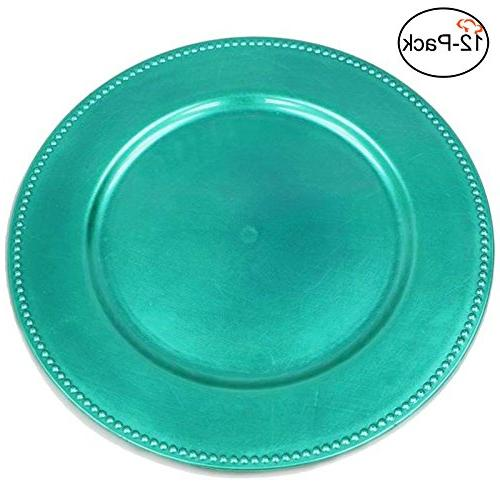 turquoise round beaded charger plates