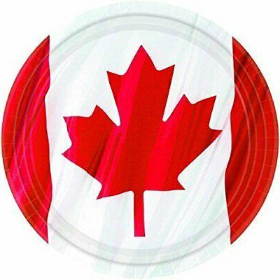 waving canadian flag dinner plates patriotic party