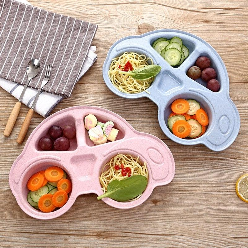 Wheat Straw Cartoon Set <font><b>Plate</b></font> Infant Children Training Container Dish Fork for
