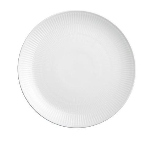white fluted coupe dinner plate