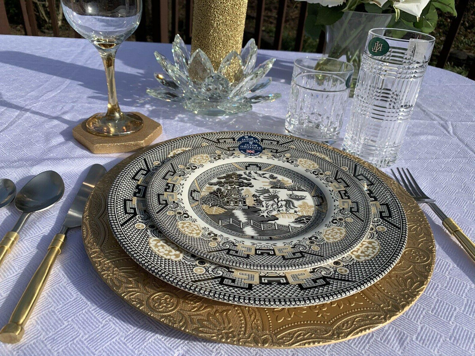 Willow Dinner Salad Plates & Gold