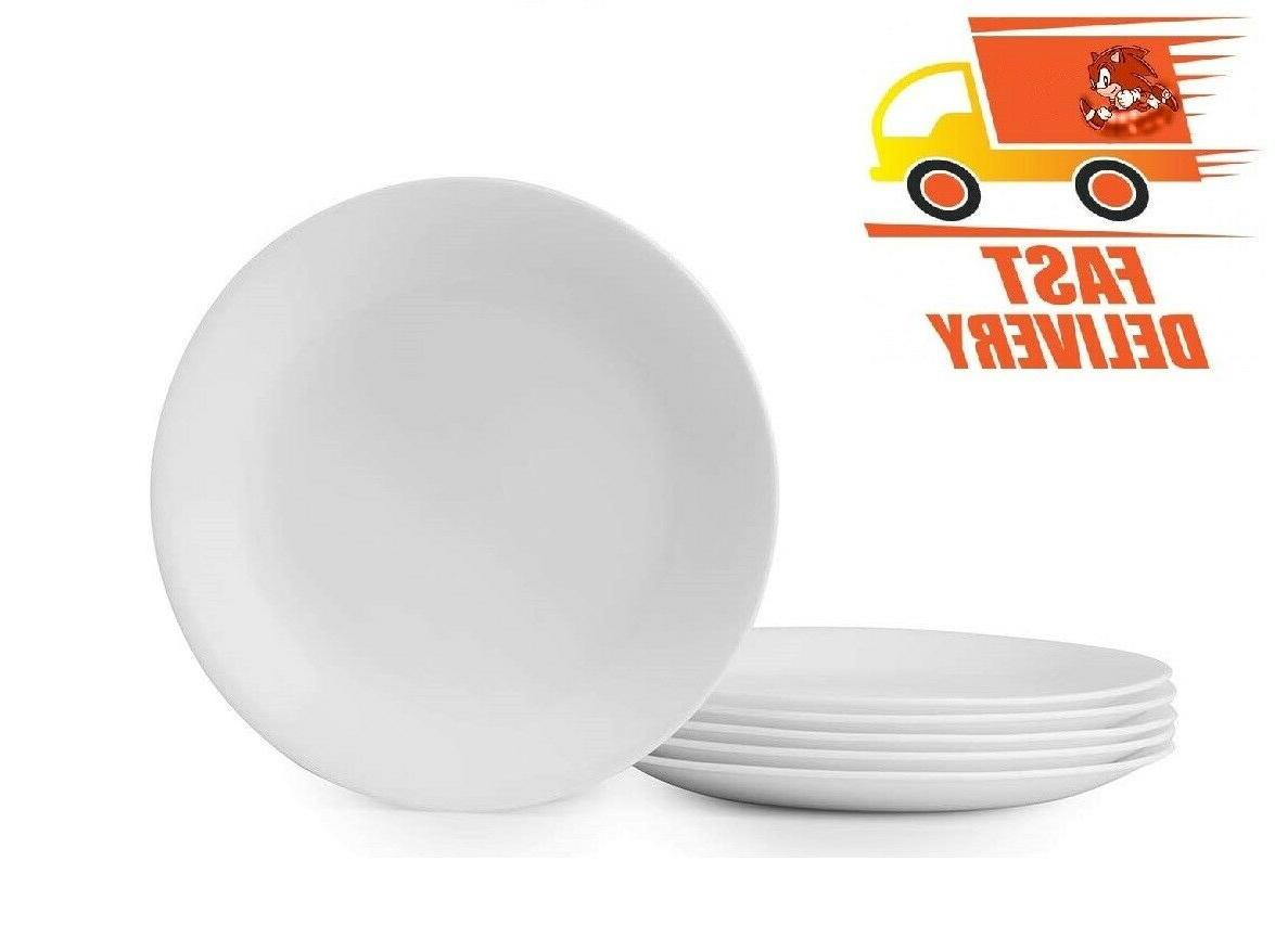 winter frost 6 pack lunch plates white