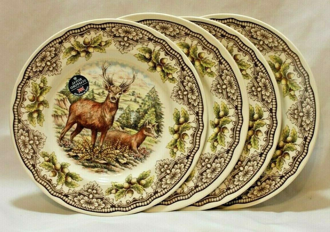 woodland deer porcelain dinner plates set of