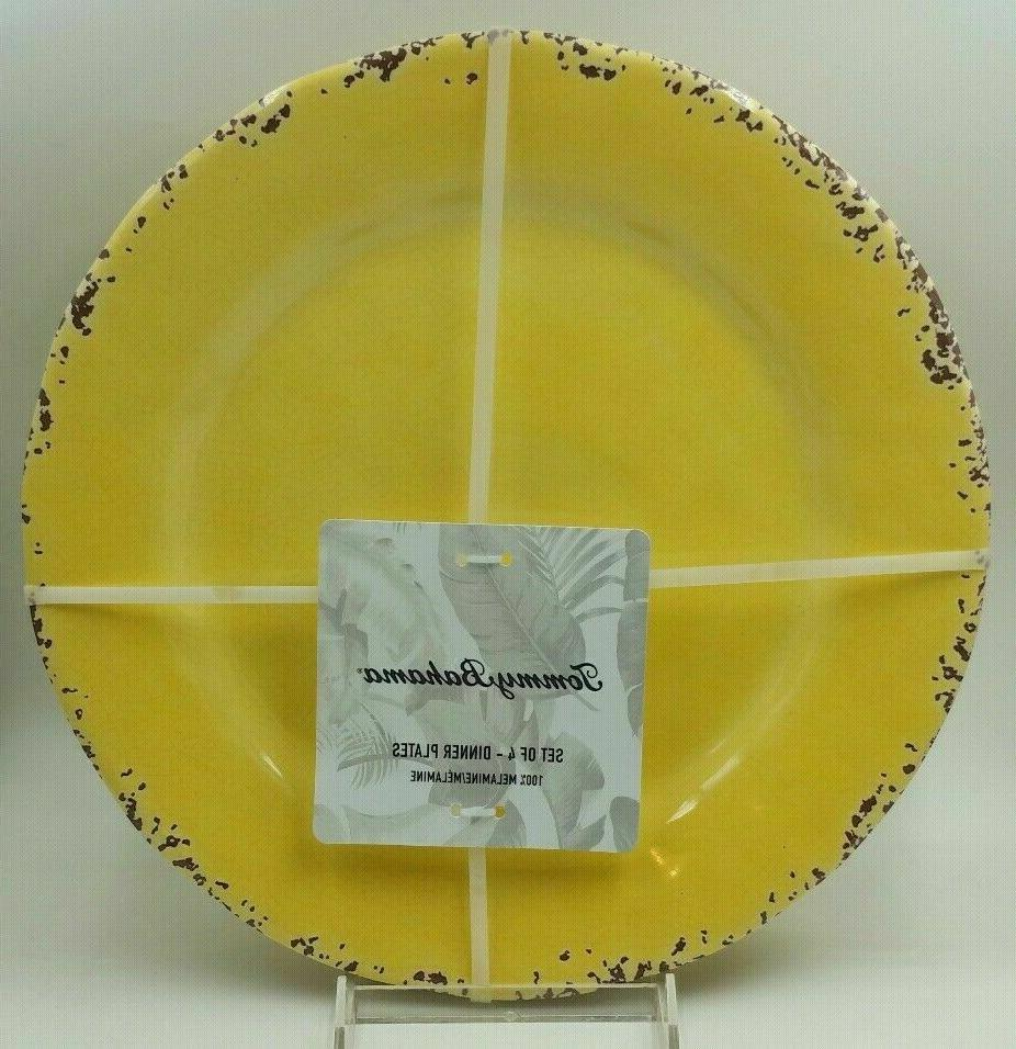 """TOMMY BAHAMA Yellow Crackle Dinner 11"""" Set 4 Outdoor"""