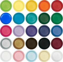 "Large 9"" Plastic Disposable Plates -Vibrant Solid Colors Lun"