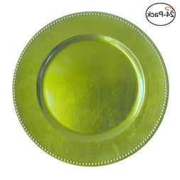 Tiger Chef 13-inch Lime Round Beaded Charger Plates, Set of