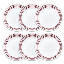 "Corelle Livingware 10.25"" 6-Piece Dinner Plate Set, Ruby Red"