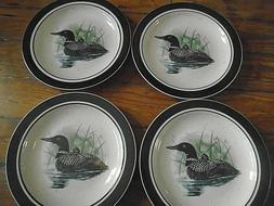 "Folkcraft ""Loon Lake"" Dinner Plates Scotty Z 11"" lot of 4"