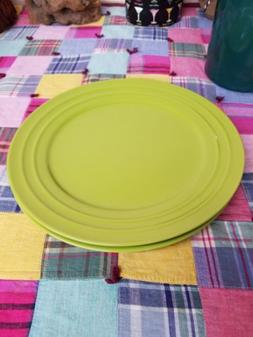 "Lot of 2 Rachael Ray Double Ridge Apple Green 11"" Dinner Pla"
