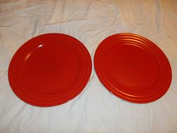 "Lot of 2 Rachael Ray Double Ridge Red 11"" Dinner Plate"