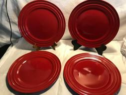 "Lot Of 4 Rachael Ray Double Ridge 11"" Red Dinner Plates Dinn"