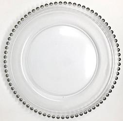 Lovely Glass Dinnerware Formal 13-Inch Beaded Rim Clear Glas