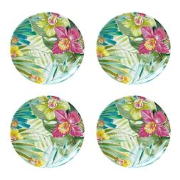 "Maui Melamine 11"" Dinner Plates Tropical Set of 4 Coastal Li"