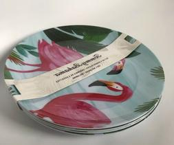 "Tommy Bahama Melamine 11"" Dinner Plates Pink Flamingo Palm T"