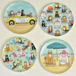 "Melamine Dinner 10"" Plates Cats at the Beach Set of 4 Choose"