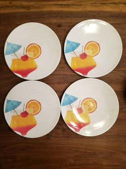 Tommy Bahama Melamine Dinner Plates Summer Cocktail White Ne