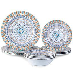 Marjoy Melamine Dinnerware Set for 4-12 Piece Dinner Plates