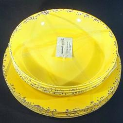 Tommy Bahama Melamine set of 8 yellow Crackle 4-Dinner Plate